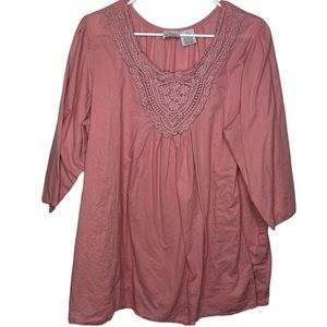 Only Necessities Rose Pink Lace Blouse 1X